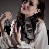 Model with Anya Sushko Simona Small Shoulder Bag with Chain