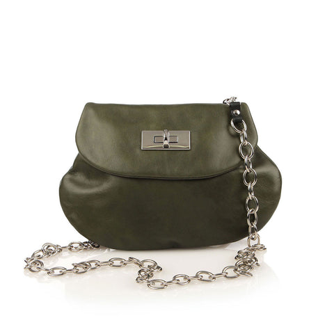 Leather Cross Body Heart Purse in Olive Green front view