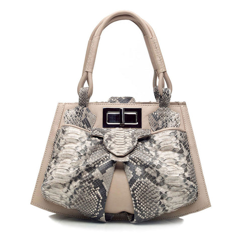 Python Leather Bag Bowgard in cream