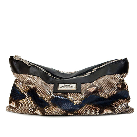 Luxury Hiss Camelot Python Oversized Clutch