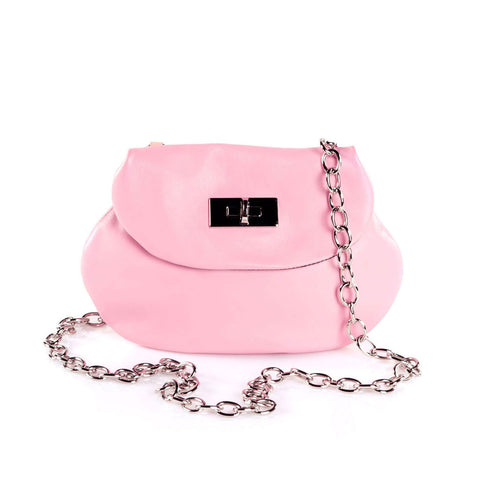Leather Cross Body Heart Purse in Powder Pink front view