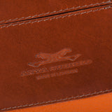 Leather Orange Bag and Tan back pocket detail