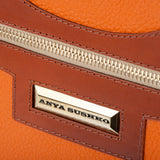 Leather Orange Bag and Tan logo detail