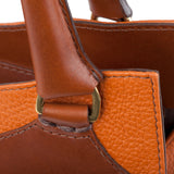 Leather Orange Bag and Tan handle detail