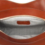 Leather Orange Bag and Tan lining deatils