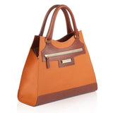 Leather Orange Bag and Tan side view