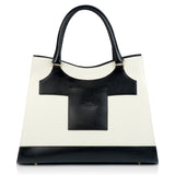 Business Black and White Leather Bag back view