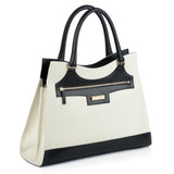 Business Black and White Leather Bag side view