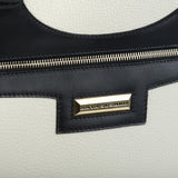 Business Black and White Leather Bag zip detail