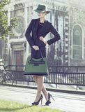 Business Leather Green Bag with Black Highlights styling