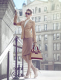 Leather Beige Bag with Brown highlights styling
