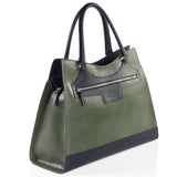 Business Leather Green Bag with Black Highlights side view
