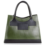 Business Leather Green Bag with Black Highlights back view