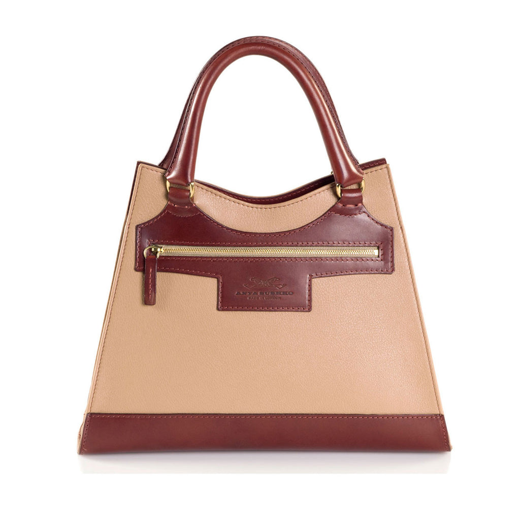 Leather Beige Bag with Brown highlights front view