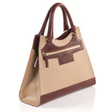 Leather Beige Bag with Brown highlights side view