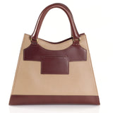 Leather Beige Bag with Brown highlights back view
