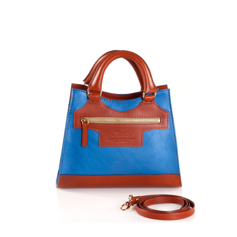 Leather Cross Body Bag in Sky Blue and Tan front view