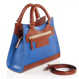 Leather Cross Body Bag in Sky Blue and Tan side view
