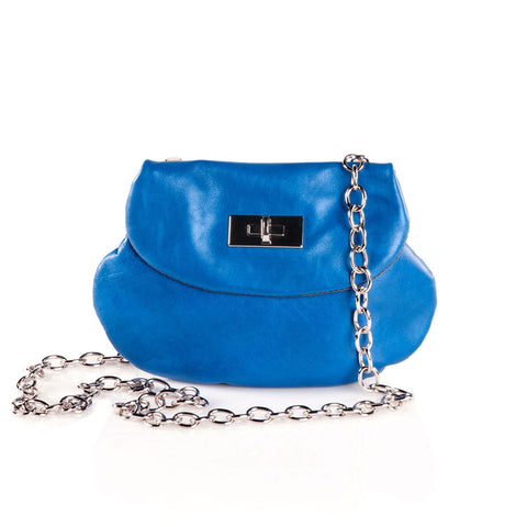 Leather Cross Body Heart Purse in Sky Blue front view