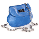 Leather Cross Body Heart Purse in Sky Blue side view