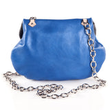 Leather Cross Body Heart Purse in Sky Blue back view