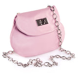 Leather Cross Body Heart Purse in Powder Pink side view