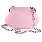 Leather Cross Body Heart Purse in Powder Pink back view