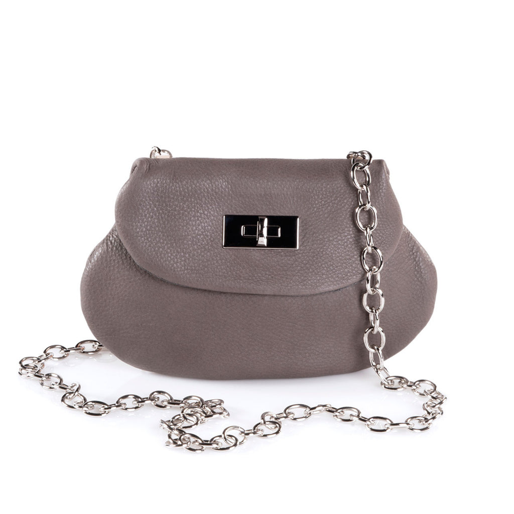 Leather Cross Body Heart Purse in Dark Taupe front view