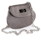 Leather Cross Body Heart Purse in Dark Taupe side view