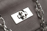 Leather Cross Body Heart Purse in Dark Taupe lock detail