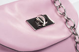 Leather Cross Body Heart Purse in Powder Pink lock detail