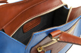 Leather Cross Body Bag in Sky Blue and Tan lining detail