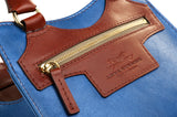 Leather Cross Body Bag in Sky Blue and Tan front zip detail
