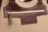 Leather Beige Bag with Brown highlights zip detail