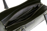 Business Leather Green Bag with Black Highlights lining detail