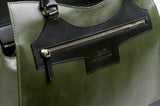 Business Leather Green Bag with Black Highlights zip detail