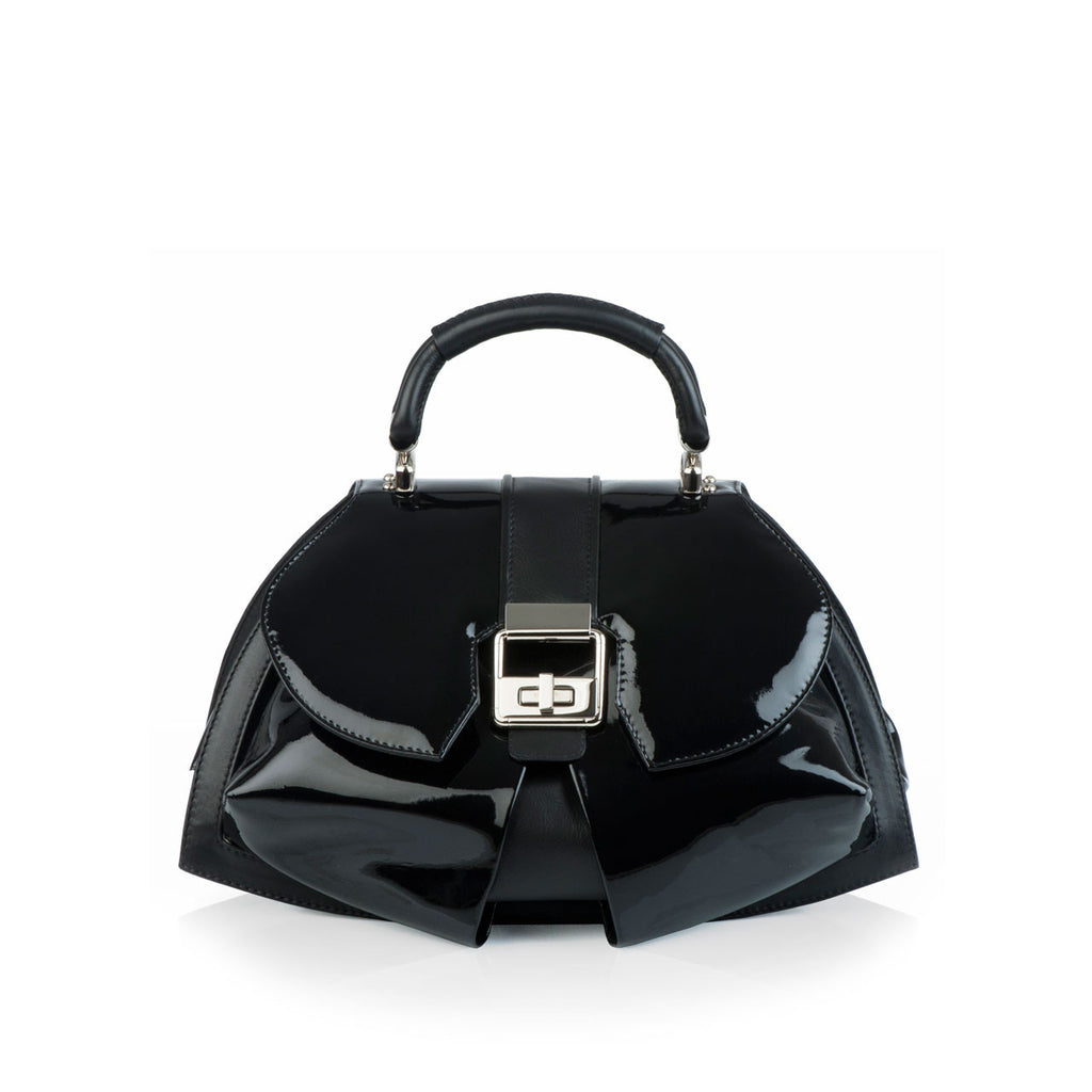 Art Deco Inspired Modern Extravaganza bag in black patent