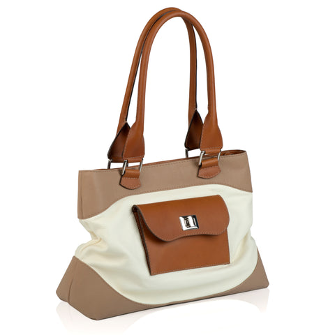 Westminster Tote in Ivory and Tan