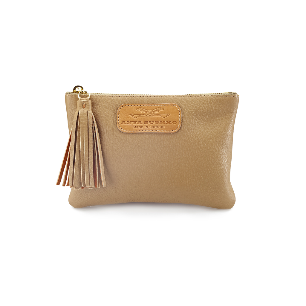 Handcrafted Leather Purse in Beige