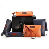 Leather Accessories in Orange and Navy