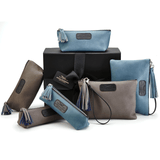 Leather Accessories in Blue and Grey