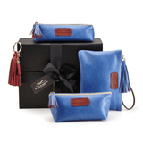 Leather Accessories in Metallic Blue