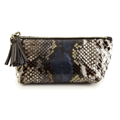 Python Leather Makeup Bag front
