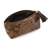 Cosmetic Case in Brown Exotic Skin lining detail