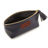 Cosmetic Case in Textured Navy lining detail
