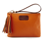 Handmade Leather Wristlet in Autumn Orange