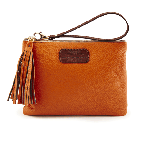 Leather Wristlet in Autumn Orange