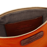 Handmade Leather Wristlet in Autumn Orange  lining detail