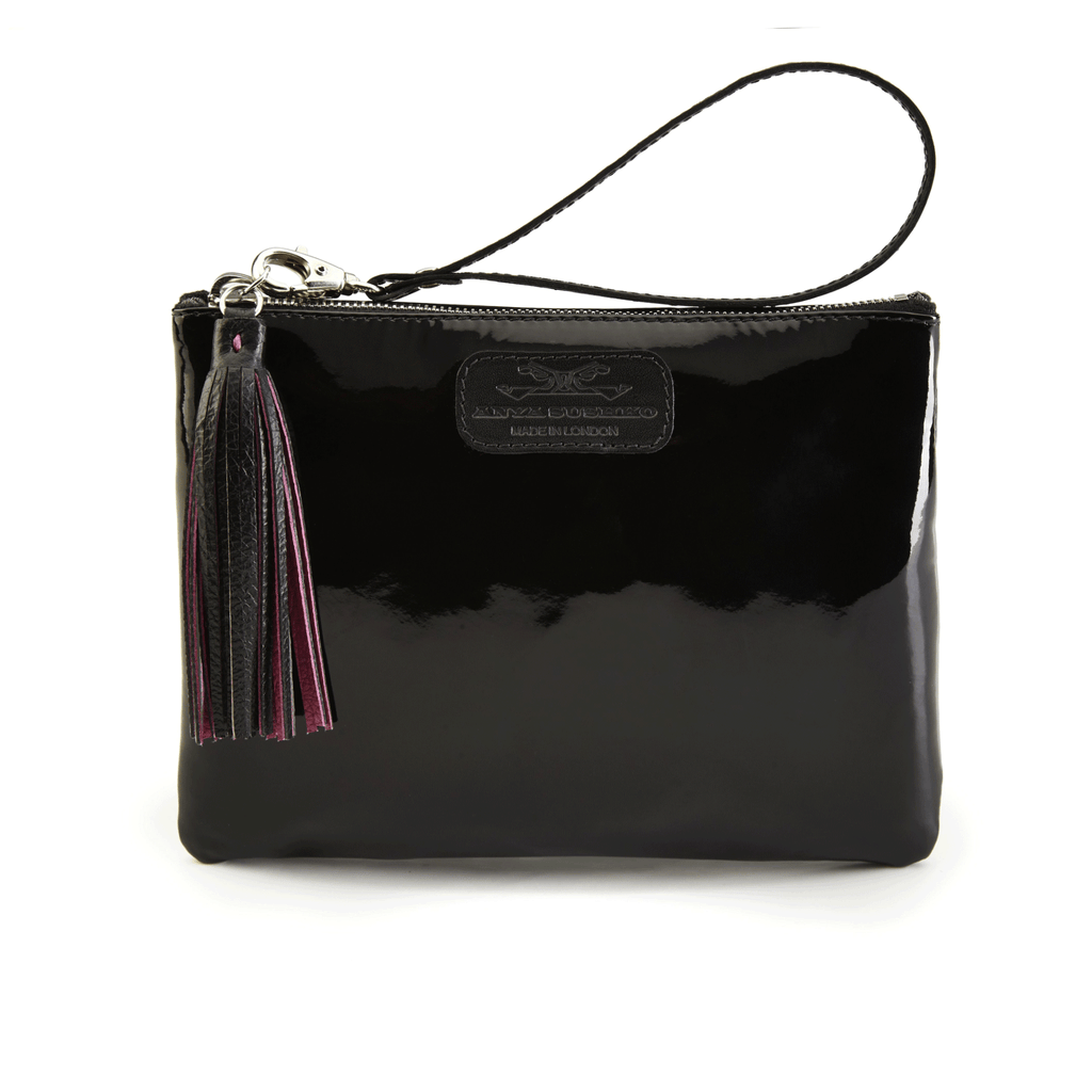 Handmade Leather Wristlet in Black Patent