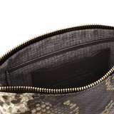Luxury Wristlet in Camelot Python Skin lining detail